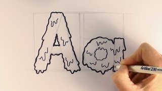 How to Draw a Cartoon Halloween Slime Letter A and a
