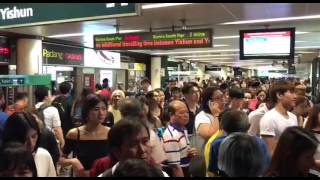 Crowd leaving Yishun MRT station