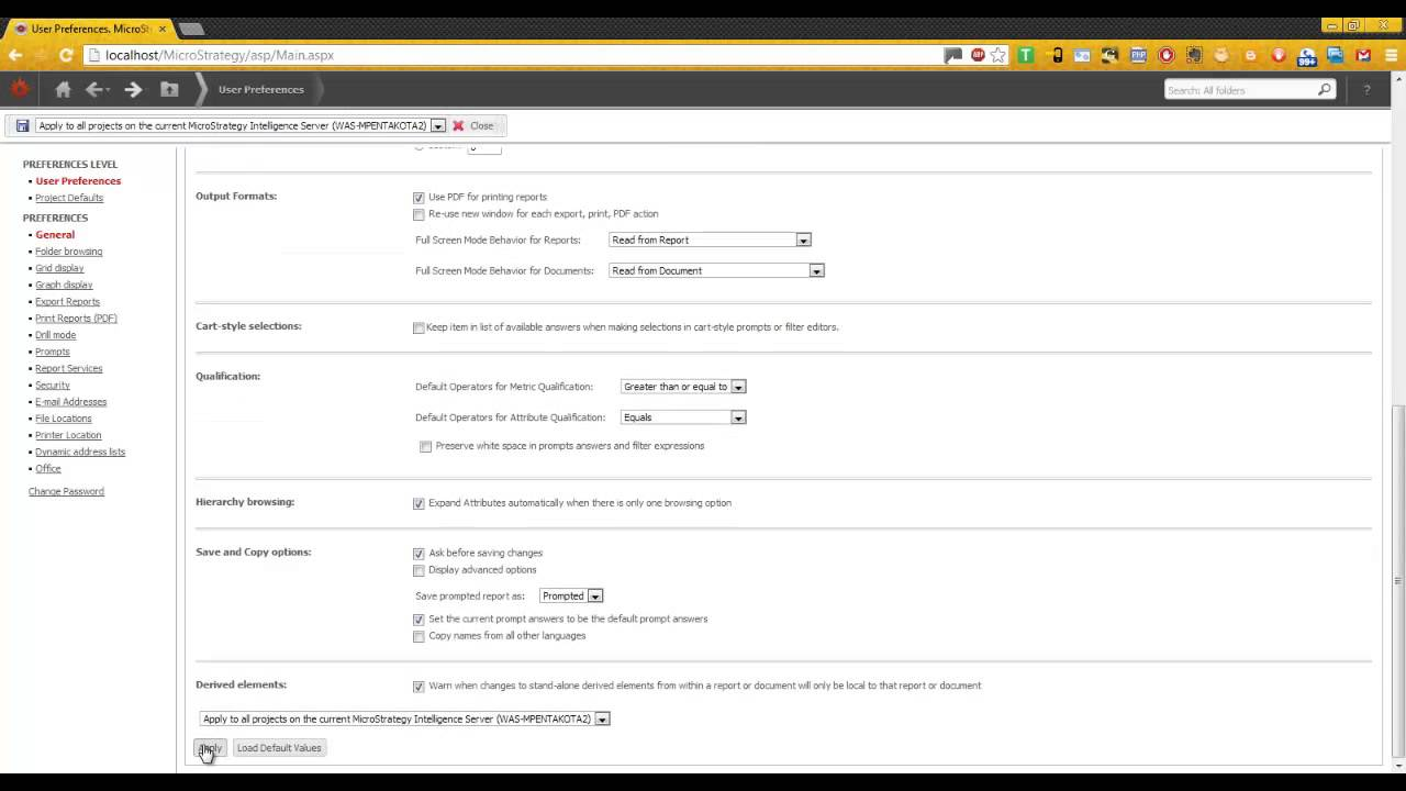How to configure a Report Services Document as the user`s project ...