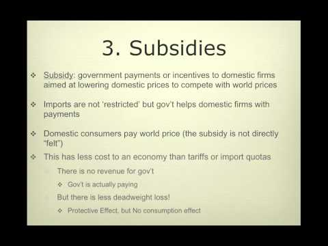 Quota, Subsidy, & Other Forms of Protectionism