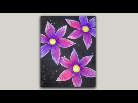 Acrylic painting pink and purple flowers on a black for Background painting ideas