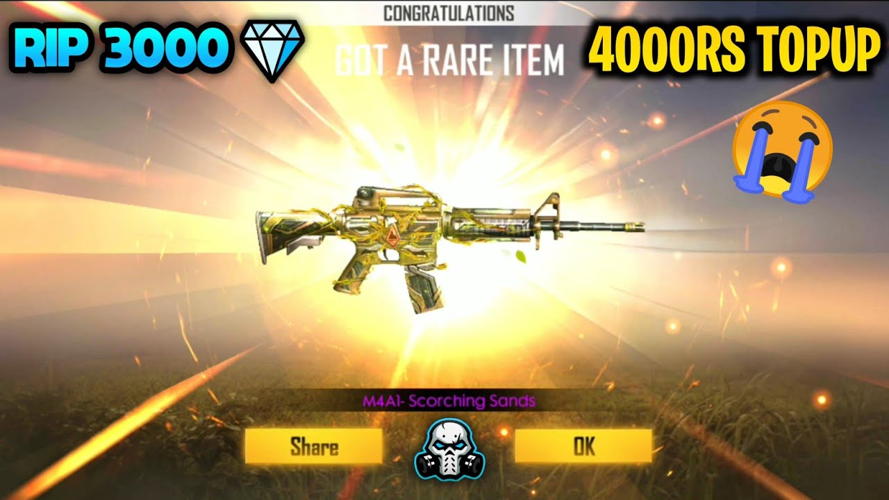 Garena Free Fire M4a1 Scorching Sands Permanent Weapon Skin New Weapon Royal