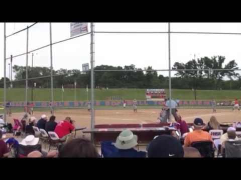 Megan Barrett (ss) & Montana Taylor (3rd base) Carterville Lady Lions score two runs at State