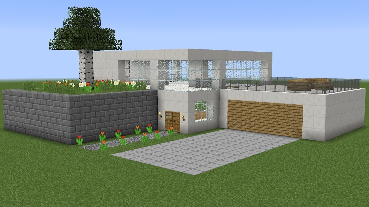 Minecraft how to build a modern house 4 youtube for How to build a modern home