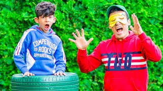 Jason and Alex play blindfold hide and seek