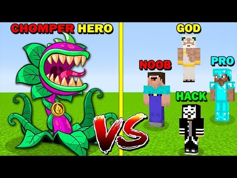 minecraft-battle:-chomper-heroes-vs-noob-vs-pro-vs-hacker-vs-god---funny-minecraft-trolling