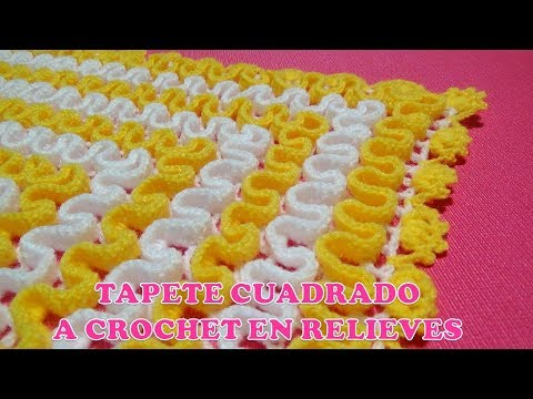 Tapete cuadrado a crochet en RELIEVES paso a paso en video tutorial FÁCIL  DE TEJER
