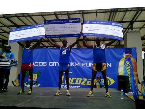 Winners of the locozade sport lagos 10KM fun race