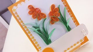 Cartão com Flores em Quilling