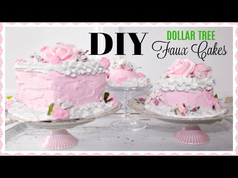 DIY DOLLAR TREE FAUX CAKE TUTORIAL 🍰HOW TO MAKE A FAKE CAKE ON A BUDGET