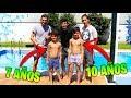 Retos De Piscina Con Mis Hermanos  De 7 Y 10 AÑos  Con Suelo Resbaladizo !! Mak