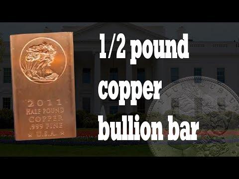 Copper Bullion Bars Fine .999 1/2 lbs - Walking Liberty -