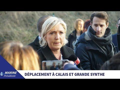 Marine Le Pen en déplacement à Grande-Synthe et à Calais (24/01/2017)