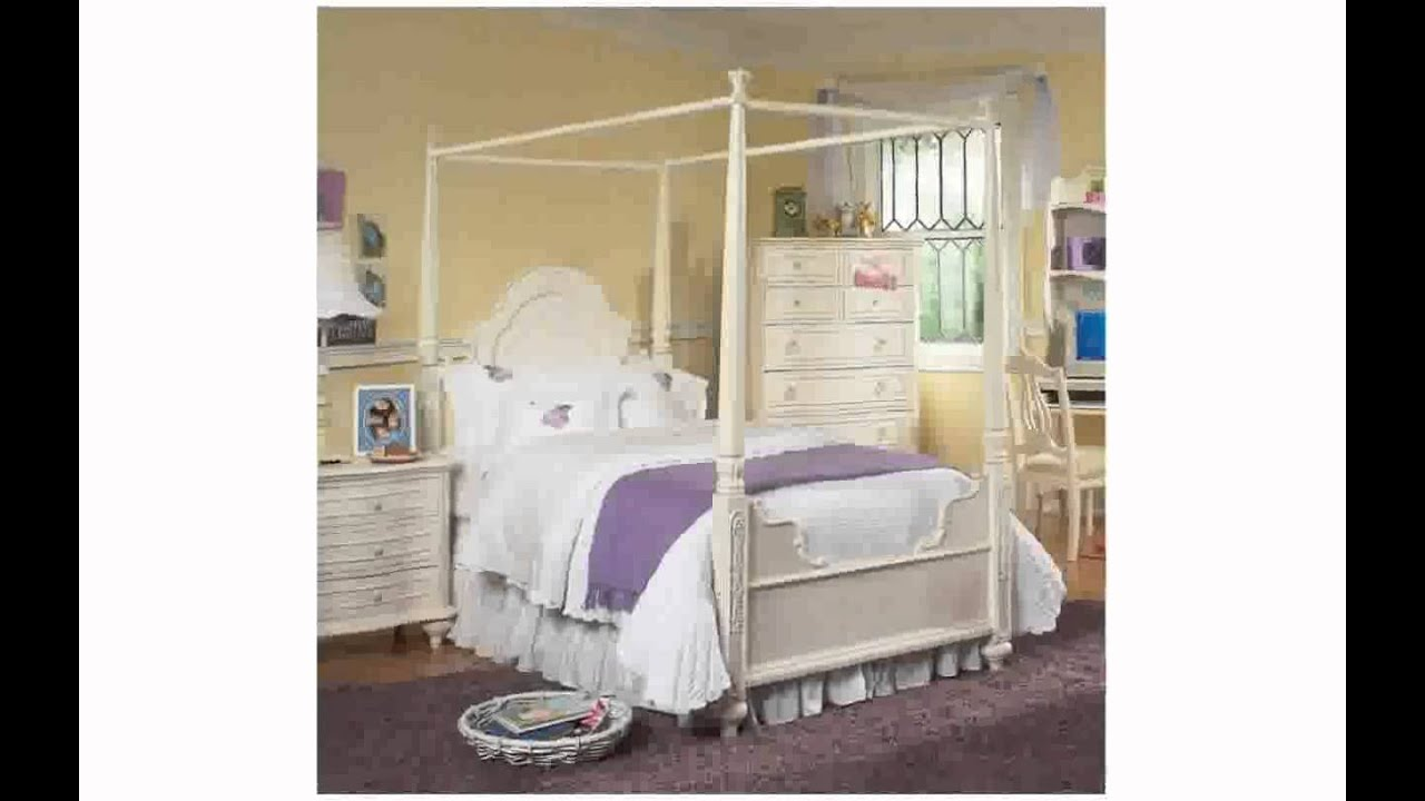 Twin Canopy Bed with Trundle - YouTube