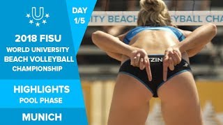 2018 FISU World University Beach Volleyball Championship Highlights - Day 1 - Pool Play