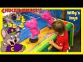 Cute Kid at Chuck E Cheese Playing Arcade Games Car Racing Skee Ball Willys Toys