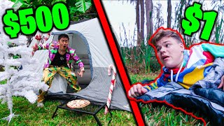 OVERNIGHT SURVIVAL CHALLENGE - $1 vs $500 CHRISTMAS FORTS!!