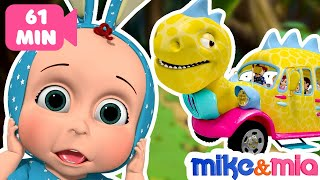 Dino Bus | Wheels on the Bus Dino Bus | Baby Shark Bus and more Nursery Rhymes by Mike and Mia