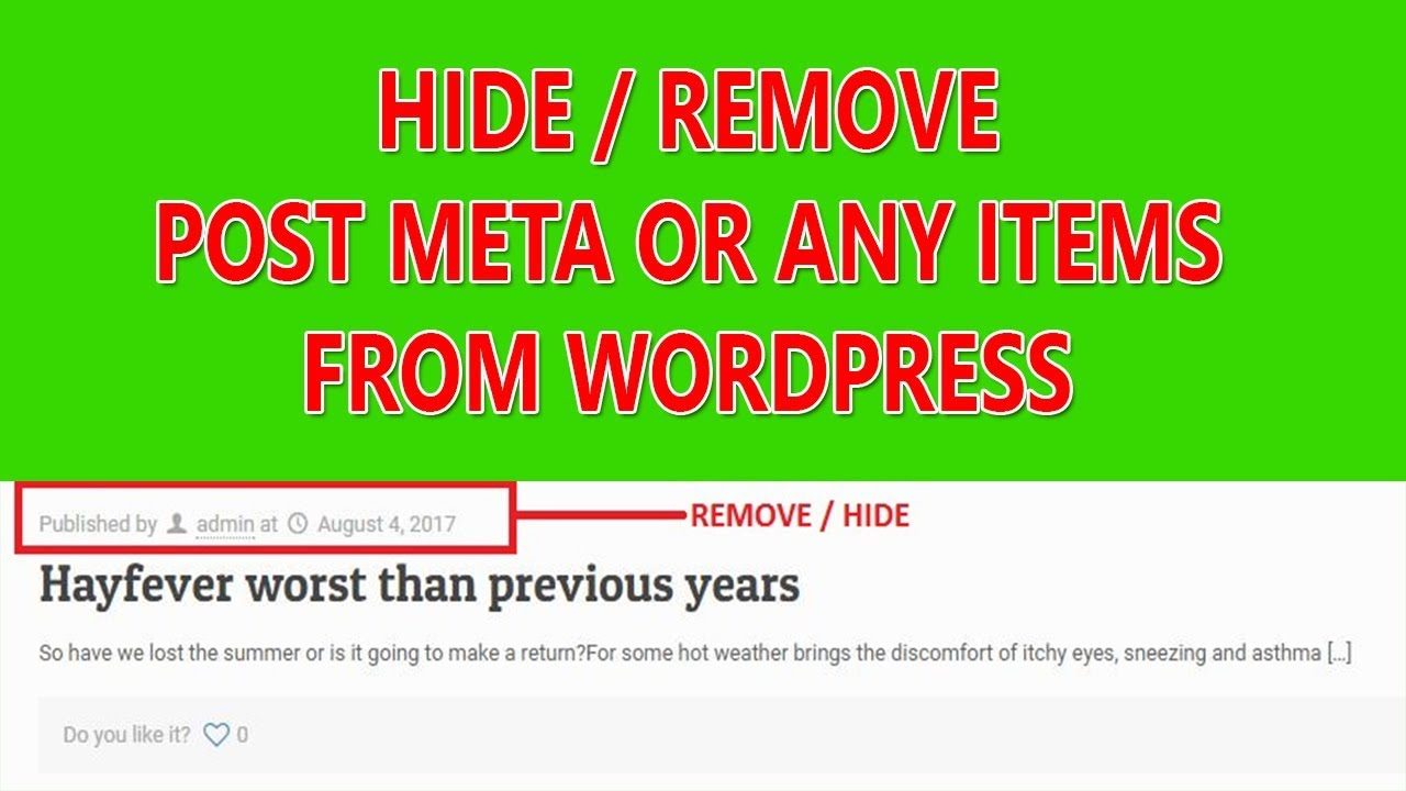 How to hide/remove post meta or any items from WordPress without plugin -  step by step tutorial