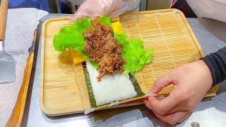 japanese street food - octopus bread & onigiri burger
