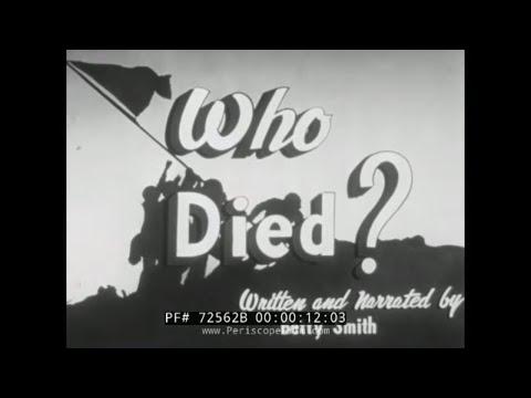 """BETTY SMITH WWII WAR BONDS PROMOTIONAL FILM """"WHO DIED"""" 72562B"""