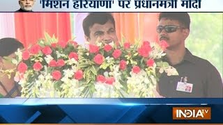 Transport Minister Nitin Gadkari Addressing Public At Kaithal District Haryana - India TV
