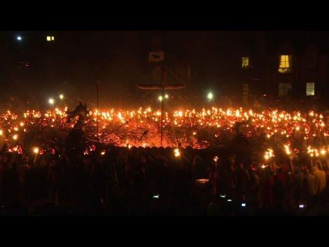 Shetland's Vikings take part in 'Up Helly Aa' fire festival
