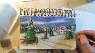 How to Draw a Holiday Christmas Card - Draw It Today #4 - Speed Drawing