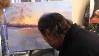 И Сахаров . Зима  Закат Урок живописи .