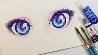 Cómo pinto OJOS con Acuarelas y Lápices de Colores   Diana Díaz