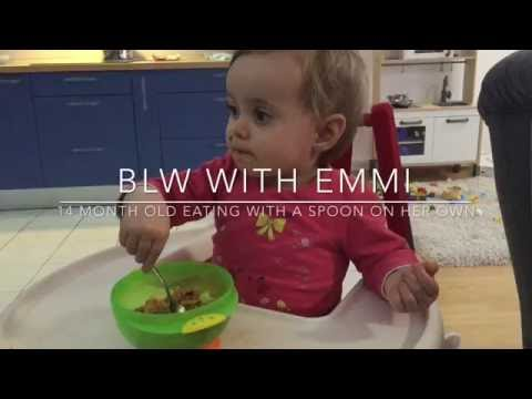 14 MONTH OLD EATING WITH A SPOON ON HER OWN - BLW with EMMI