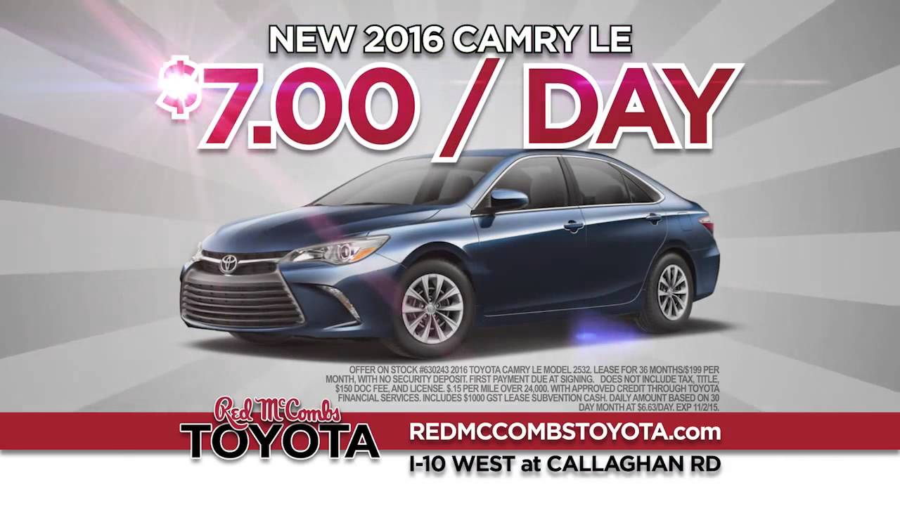 Red mccombs toyota lease specials on the 2016 toyota camry corolla youtube