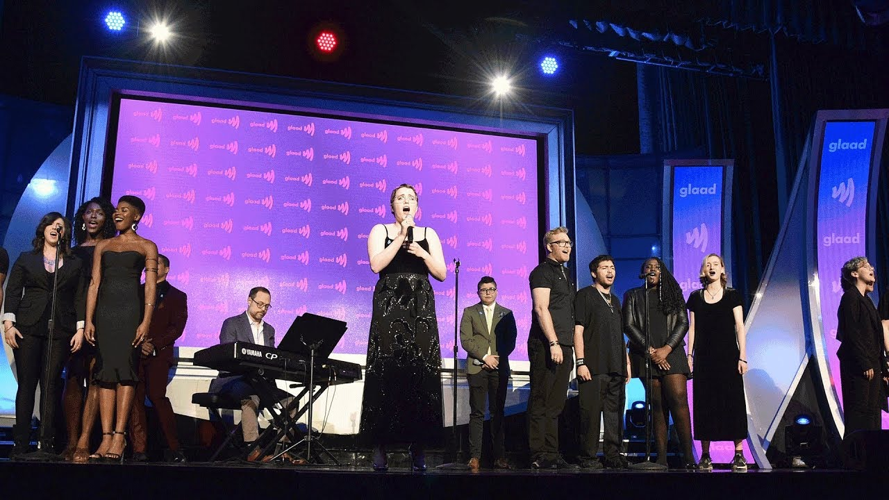 """Download The Prom star Caitlin Kinnunen performs """"Unruly Heart"""" at the 30th Annual GLAAD Media Awards"""