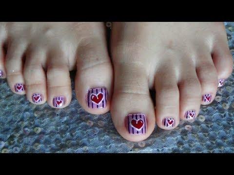 Easy & Cute Heart Shape For Toe Nails