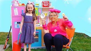Öykü is hungry Grandma is cooking very slow, Funny Kids video