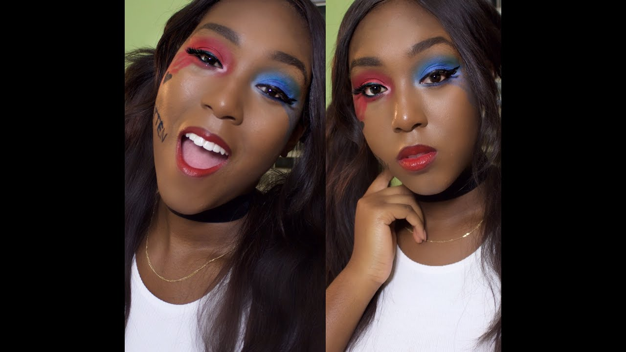 Suicide Squad Harley Quinn Makeup Look For Women Of Colour Youtube