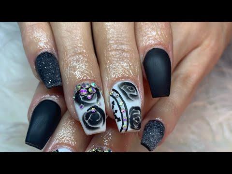 Acrylic Nail Tutorial |Full set| Black Rose Nail Art thumbnail