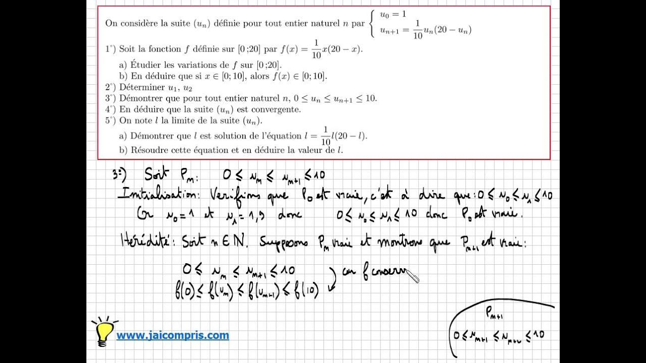 Terminale S Exercice 18 Tres Important Fonction Derivation Suite Convergente Limite Type Bac Youtube