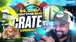 MY FIRST EVER BGMI CRATE OPENING *64,000+ UC* | MY Inventory , Got LIL GOLU \u0026 More | BGMI Highlights