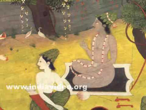Surpanakha at Rama's hermitage, Indian painting based on Ramayana