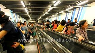 Train stations and commuters on China mainland and in Hong Kong New Territories