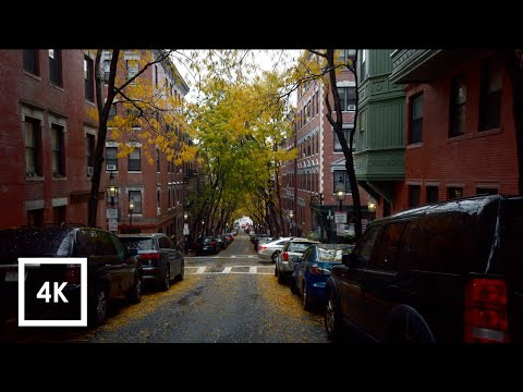 Walking In The Rain In Boston, MA (Binaural Rain On Umbrella Sounds In Beacon Hill) 4k ASMR