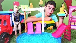 Oyun videoları. Ken havuz kuruyor. Çocuk oyuncakları