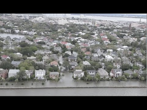 Hurricane Matthew Floods Charleston, SC - Aerial View