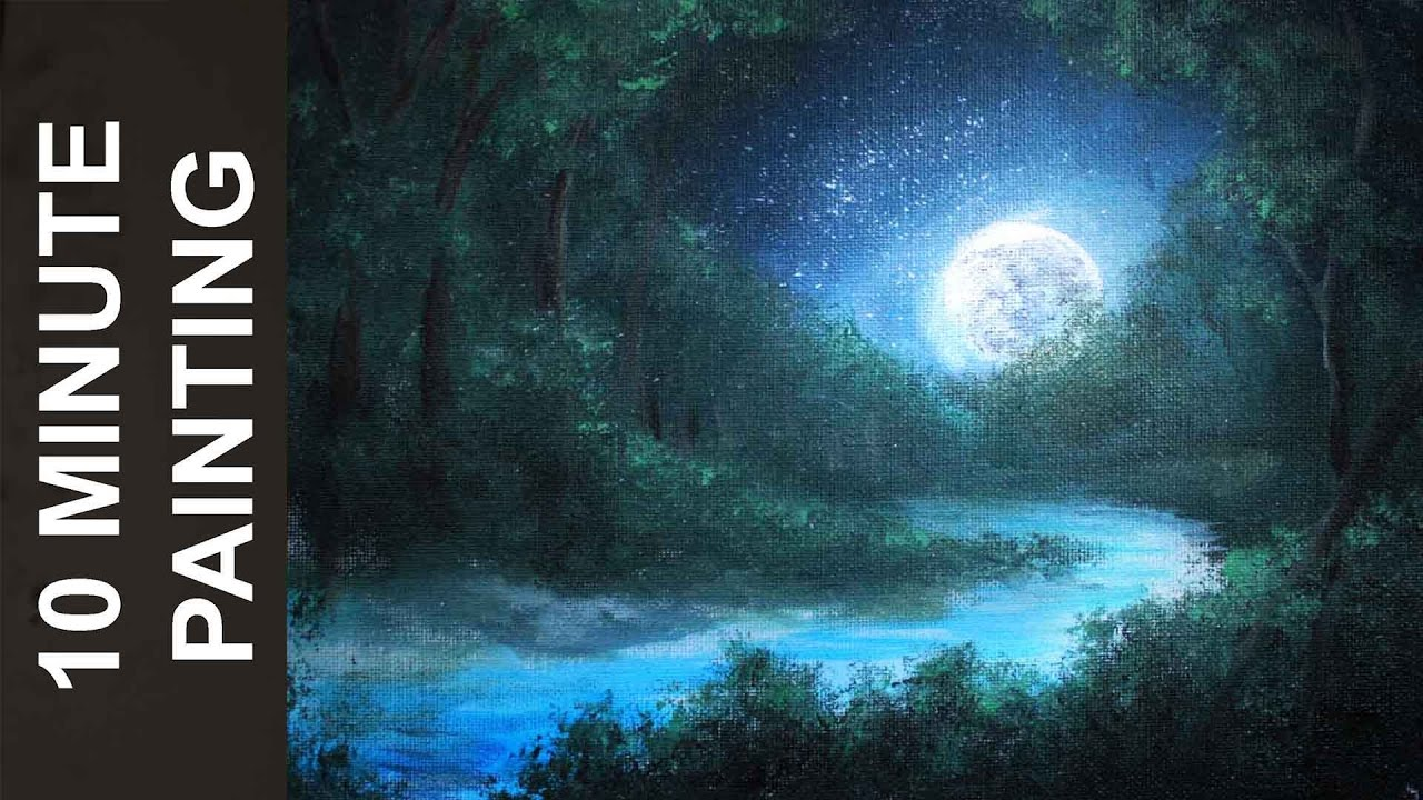 Painting A Moonlit Forest Landscape With Acrylics In 10