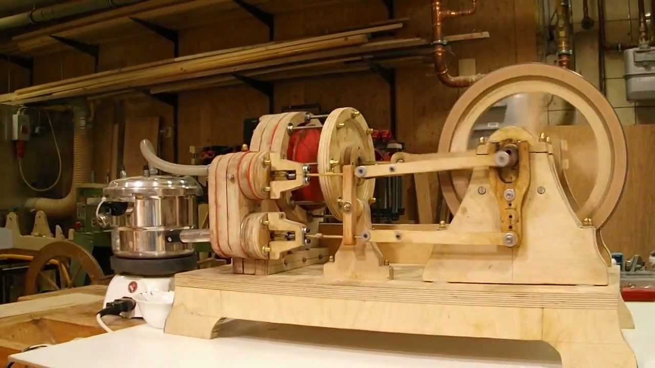 Dampfmaschine Eigenbau Holz - YouTube