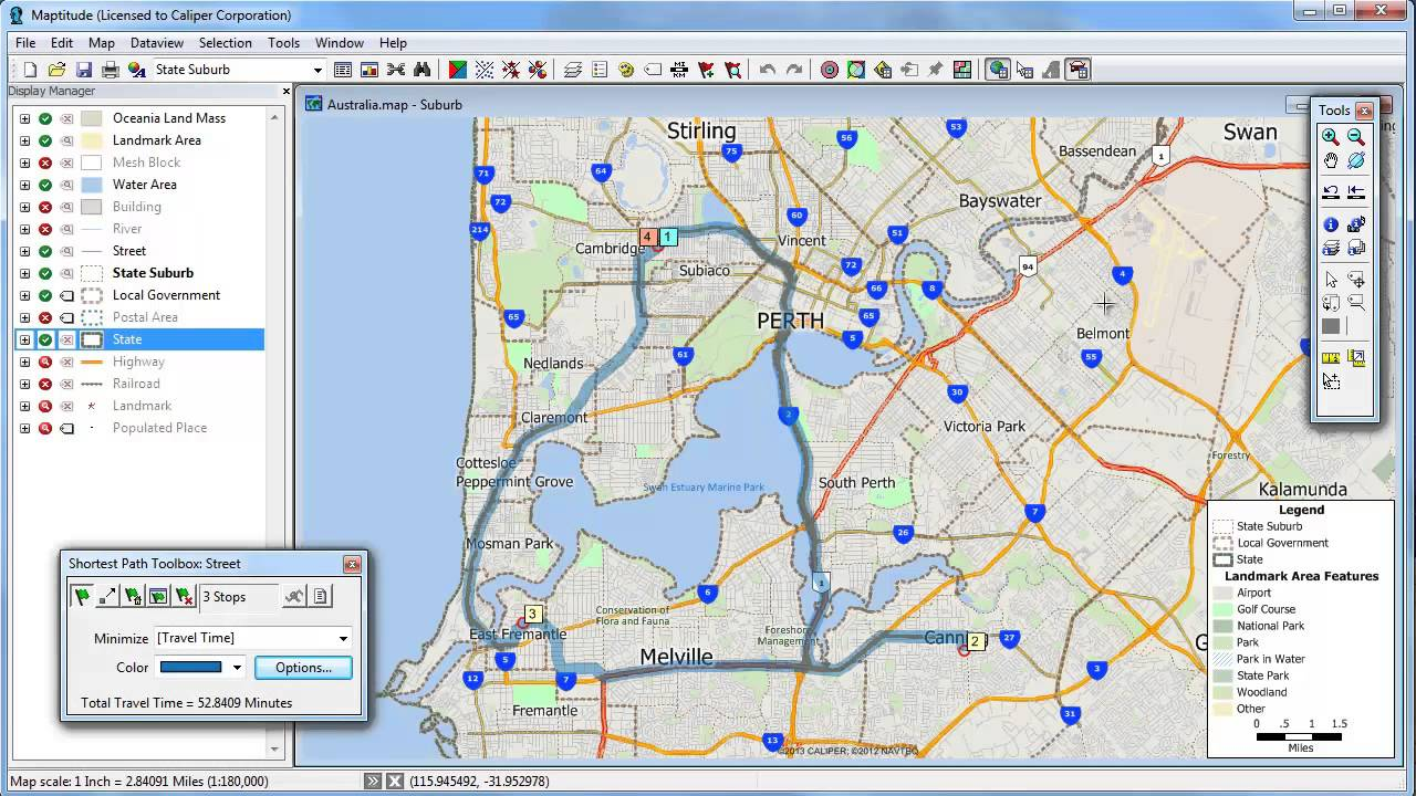 Shortest Path Best Route Delivery Travel Time In Maptitude Mapping - Travel mapping software