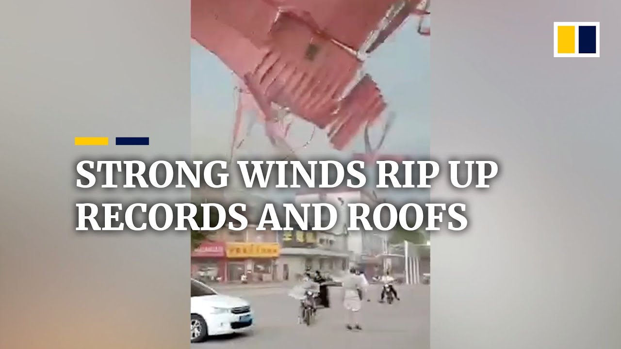 Strong winds batter China, ripping up records and roofs