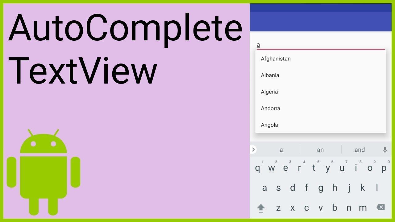 Autocompletetextview Android Studio Tutorial Youtube