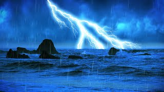 Rain and Thunder Sound with Ocean Waves ⚡White Noise for Sleeping 10 Hours